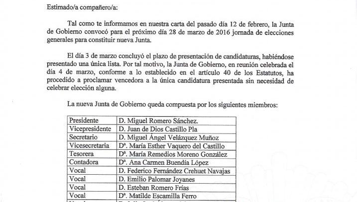 Proclamación vencedora CANDIDATURA ÚNICA para las Elecciones Generales a Junta de Gobierno del Colegio